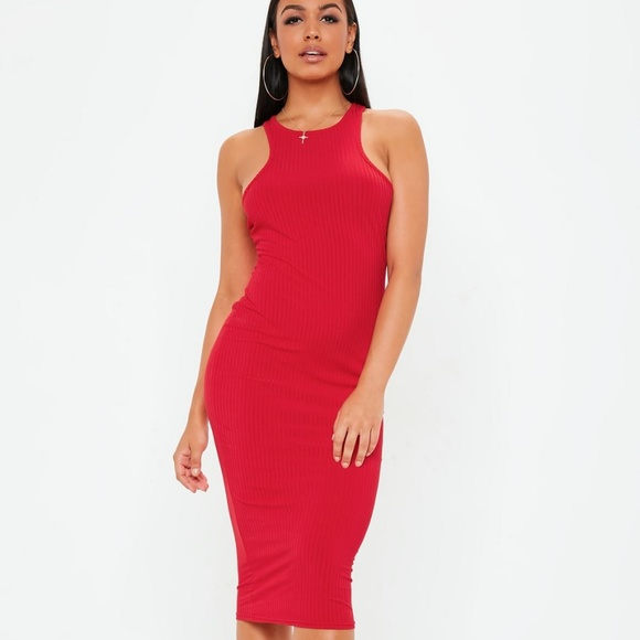 7438fbb2bdd9 Missguided Red Ribbed Racerneck Bodycon Midi Dress